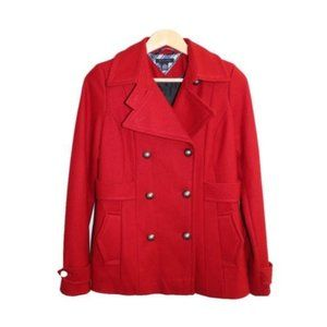 Tommy Hilfiger Red Double Breasted Peacoat Jacket